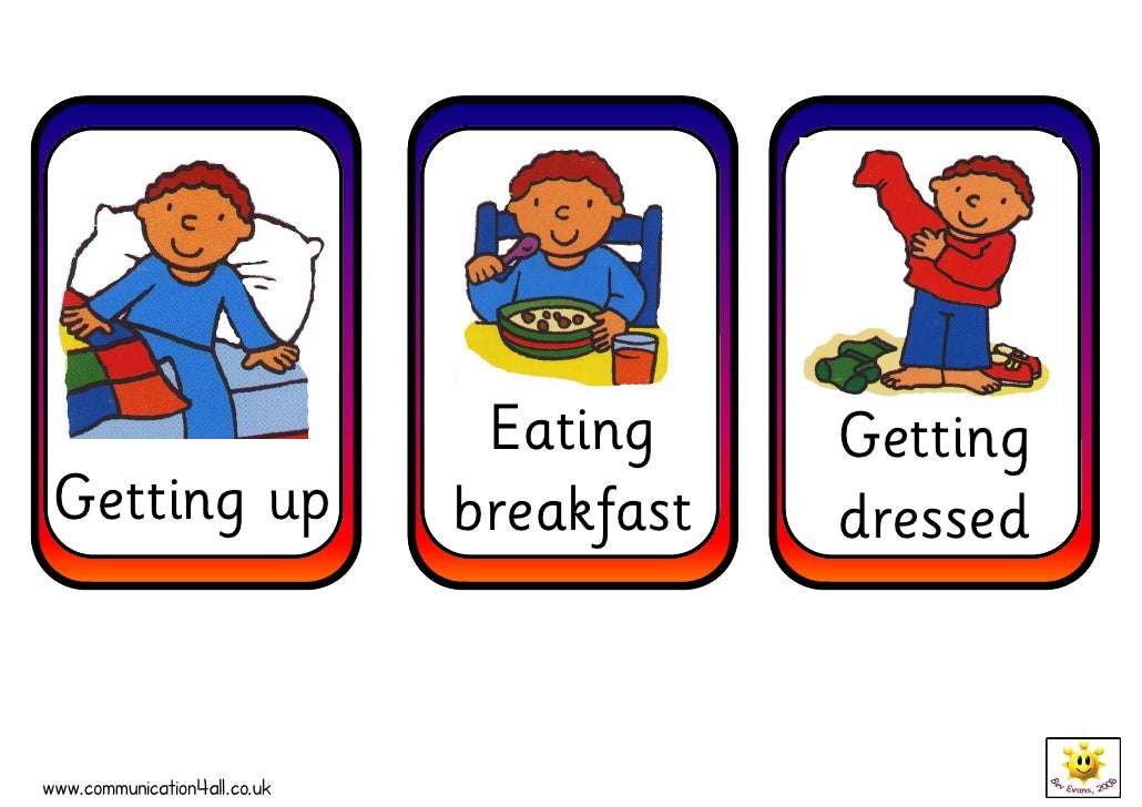 Eating     Getting  Getting up                   breakfast   dressed   www.communication4all.co.uk