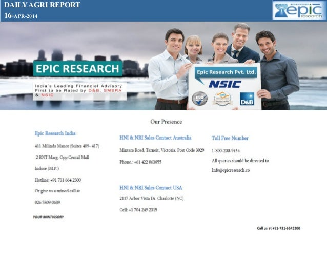 Daily agri report 16  april- 2014 by epic research