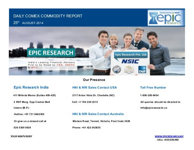 Daily comex research report by epic research for 25 august 2014