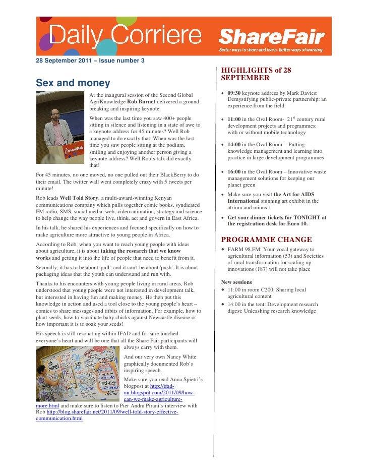 28 September 2011 – Issue number 3                                                                                 HIGHLIG...