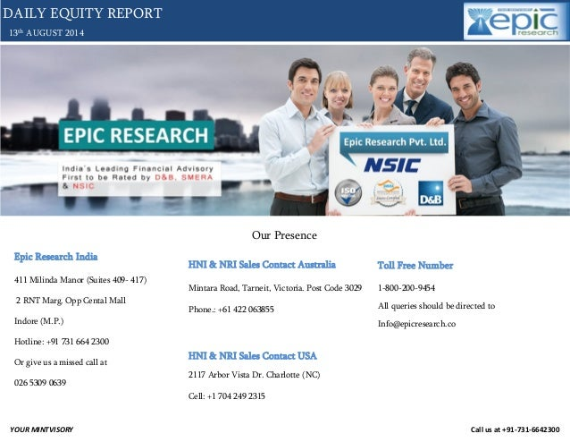 Daily equity report of 13 august 2014 by epic research