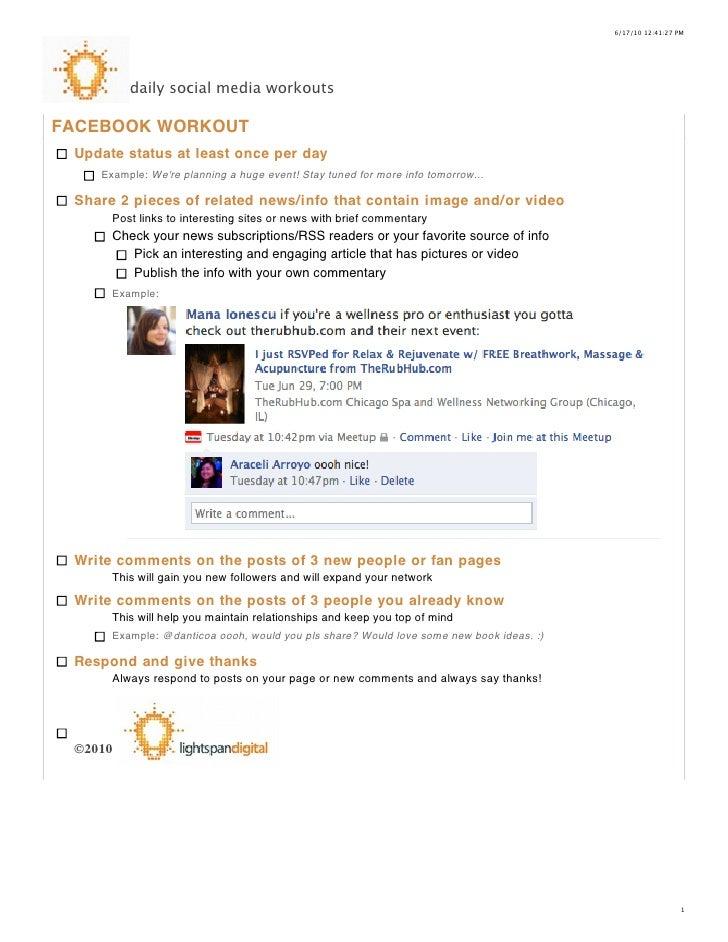 6/17/10 12:41:27 PM              daily social media workouts  FACEBOOK WORKOUT  Update status at least once per day     Ex...