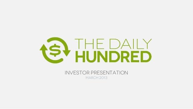 Investor Presentation      March 2013