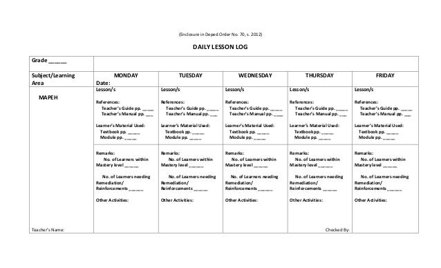 (Enclosure in Deped Order No. 70, s. 2012) DAILY LESSON LOG Grade ______ Subject/Learning Area MONDAY Date: TUESDAY WEDNES...