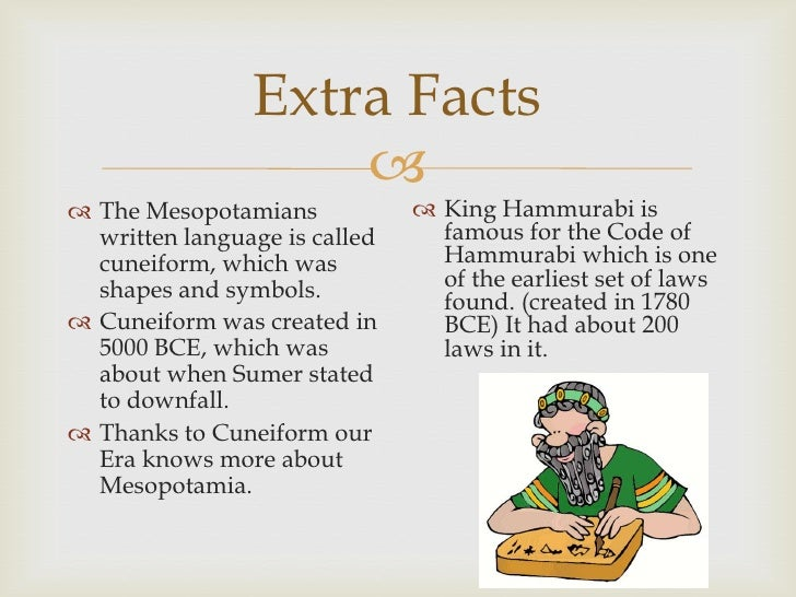facts on mesopotamia Geography mesopotamia is a greek word meaning 'between the rivers' the rivers are the tigris and euphrates which flow through modern iraq the euphrates also flows through much of syria.