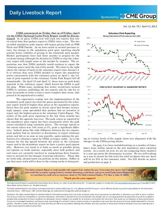 Daily livestock report apr 15 2013