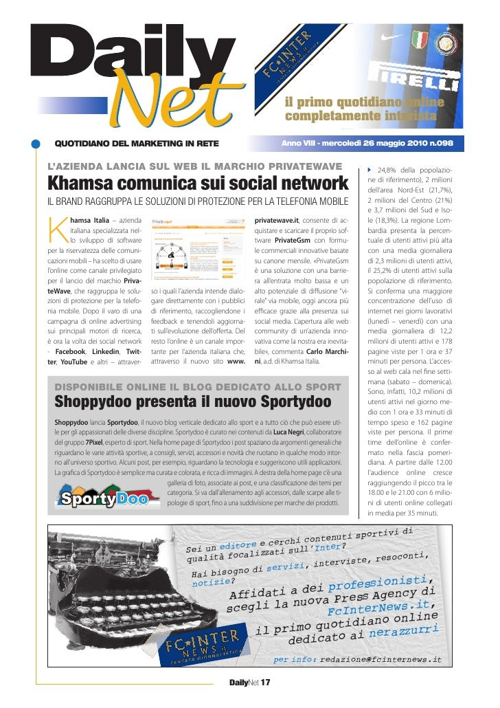 Khamsa comunica sui social network