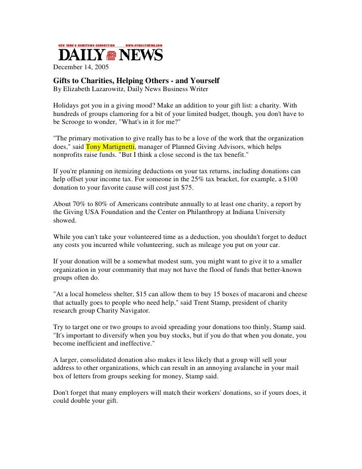 Tony Martignetti Quoted in NY Daily News