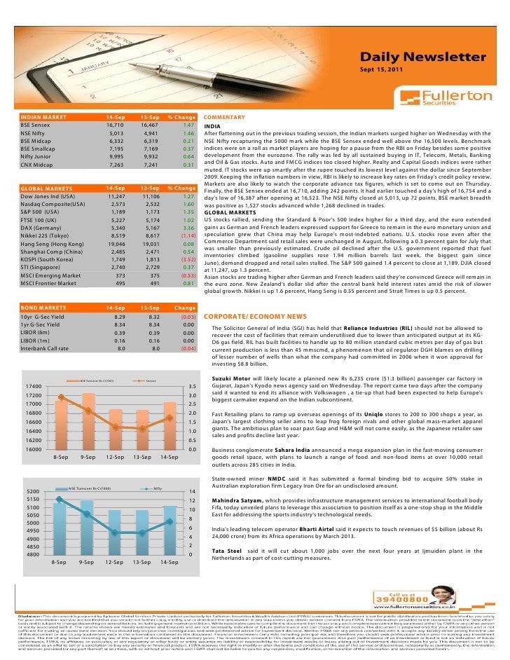 Daily Newsletter: 15th September, 2011