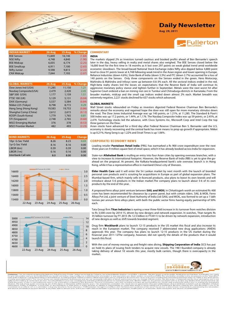 Aug 29, 2011Volume: 1 | Issue: 389| November 1, 2010INDIAN MARKET *                             26-Aug       25-Aug       ...