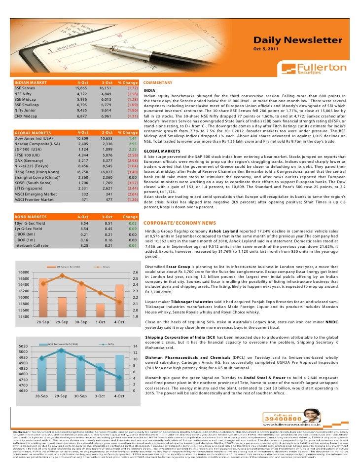 Daily Newsletter - October 5, 2011
