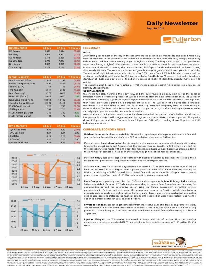 Sept 29, 2011Volume: 1   Issue: 389  November 1, 2010INDIAN MARKET                                 28-Sep       27-Sep    ...