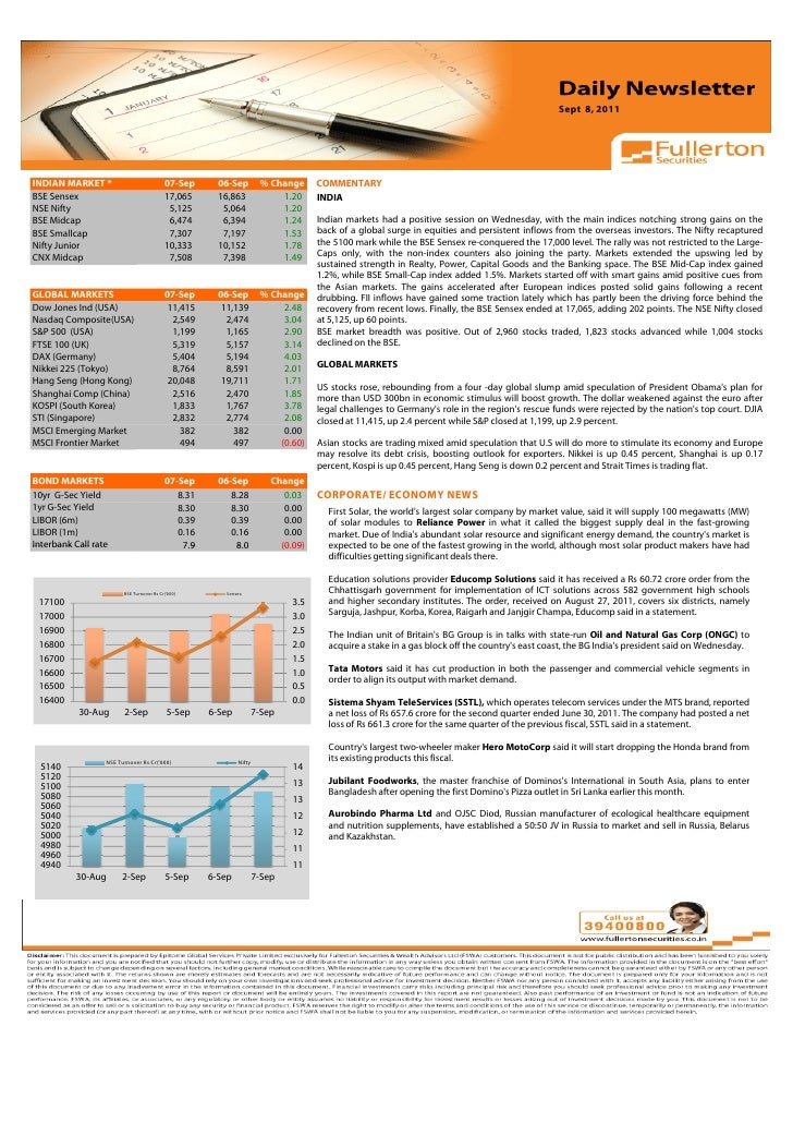 Sept 8, 2011Volume: 1 | Issue: 389| November 1, 2010INDIAN MARKET *                           07-Sep       06-Sep         ...