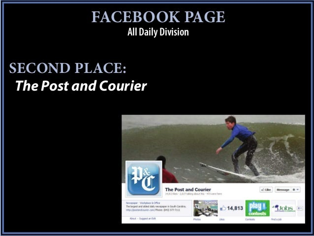 FACEBOOK PAGE                  All Daily DivisionSECOND PLACE: The Post and Courier