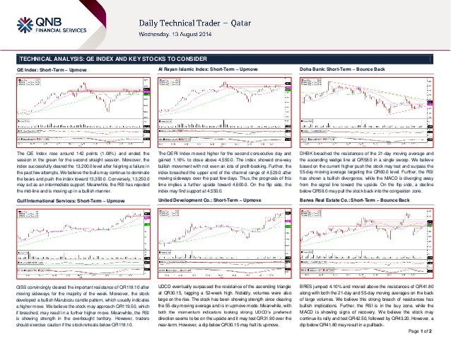Page 1 of 2 TECHNICAL ANALYSIS: QE INDEX AND KEY STOCKS TO CONSIDER QE Index: Short-Term – Upmove The QE Index rose around...