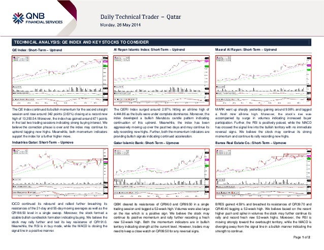 Page 1 of 2 TECHNICAL ANALYSIS: QE INDEX AND KEY STOCKS TO CONSIDER QE Index: Short-Term – Uptrend The QE Index continued ...