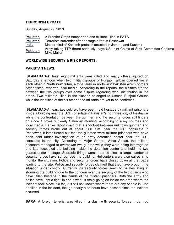 TERRORISM UPDATE<br />Sunday, August 29, 2010<br />PakistanA Frontier Crops trooper and one militant killed in FATAPakista...