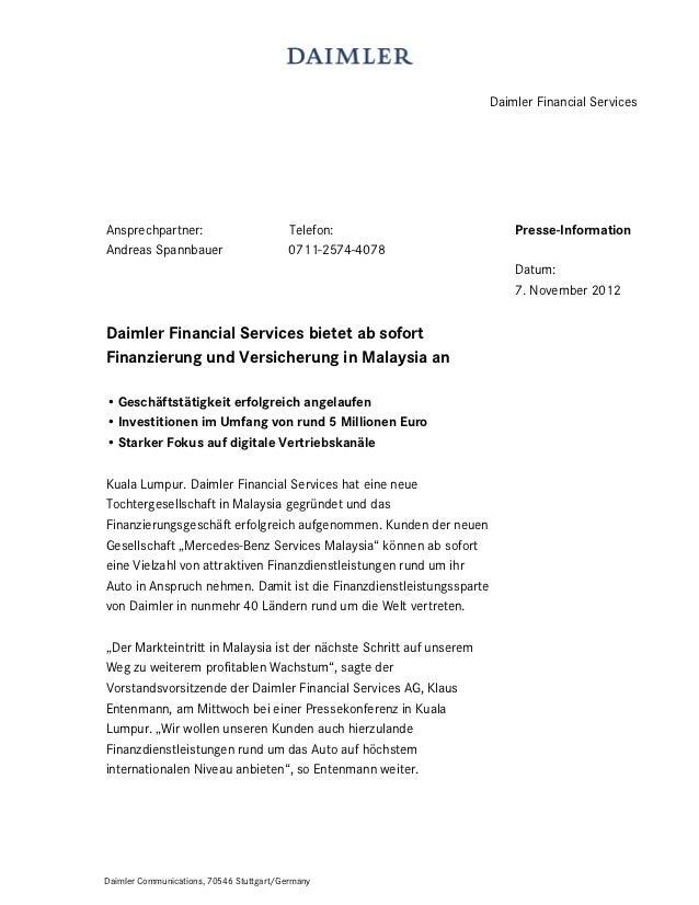Daimler Financial ServicesAnsprechpartner:                         Telefon:                        Presse-InformationAndre...