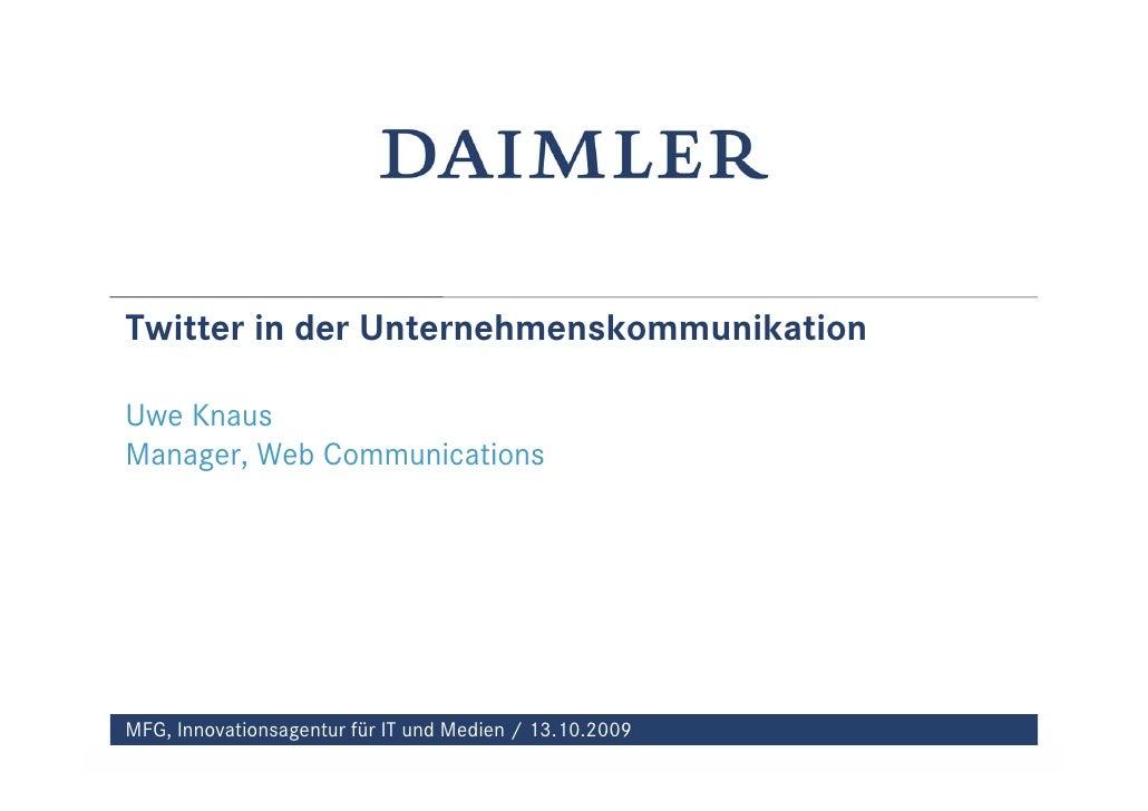 Daimler Mfg Twitter In Der Unternehmenskommunikation