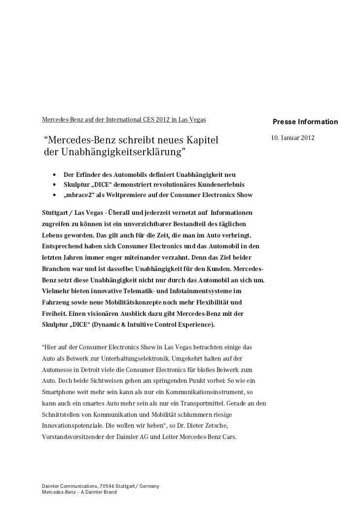 """Mercedes-Benz auf der International CES 2012 in Las Vegas                         Presse Information""""Mercedes-Benz schreib..."""