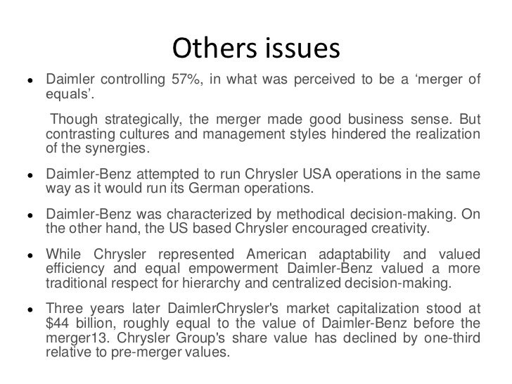an overview of the merger of daimler and chrysler The case 'the 'daimlerchryler post-merger integration' gives an overview of the merger between daimlerbenz ag of germany and chrysler corporation of the us.