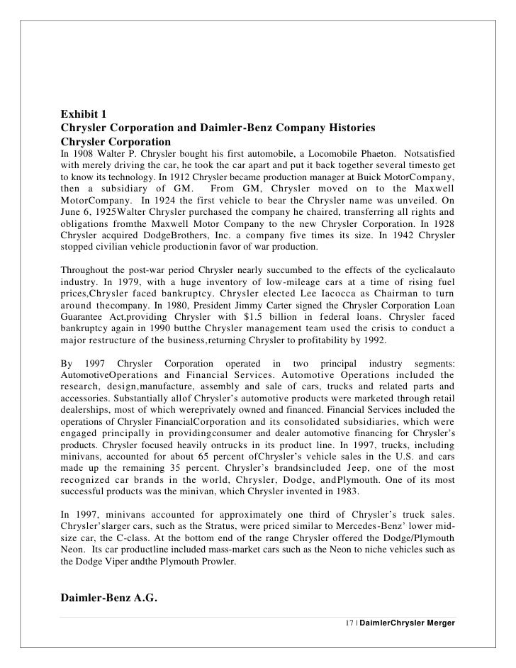 daimler chrysler merger Full-text (pdf) | this article focuses on the daimlerchrysler/mitsubishi merger of 2000 and discusses the failed attempt by a european-american multinational firm to.