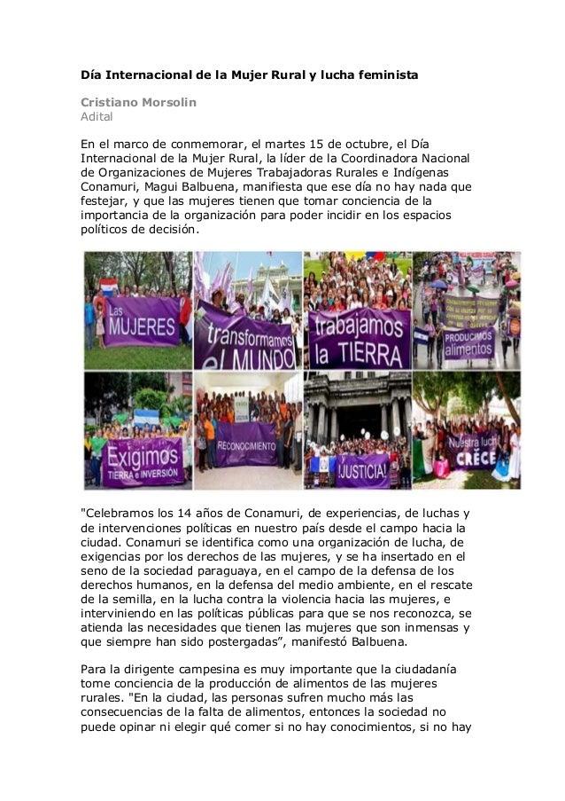 Día Internacional de la Mujer Rural y lucha feminista Cristiano Morsolin Adital En el marco de conmemorar, el martes 15 de...