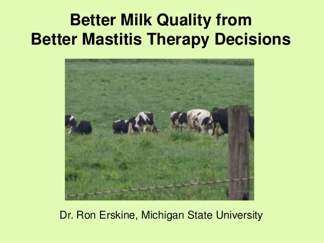 Better Milk Quality fromBetter Mastitis Therapy Decisions   Dr. Ron Erskine, Michigan State University