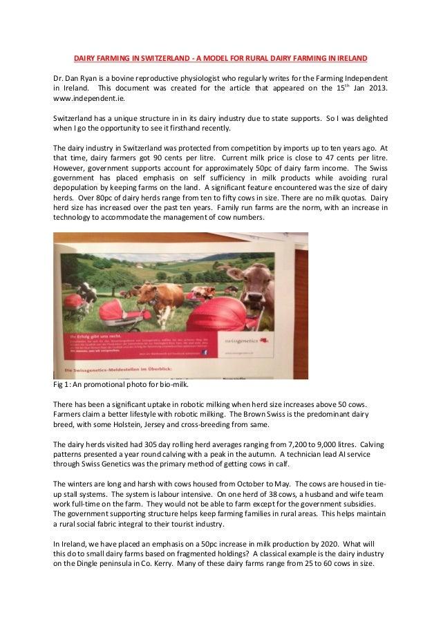 DAIRY FARMING IN SWITZERLAND - A MODEL FOR RURAL DAIRY FARMING IN IRELAND