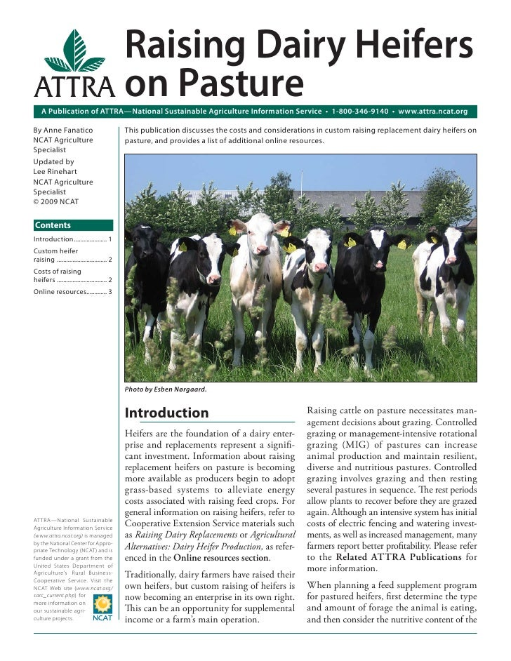 Raising Dairy Heifers                                             on Pasture    A Publication of ATTRA—National Sustainabl...