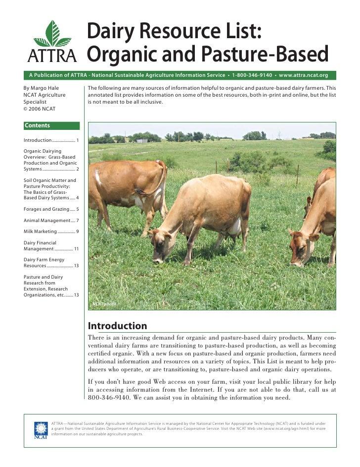 Dairy Resource List: Organic and Pasture-Based