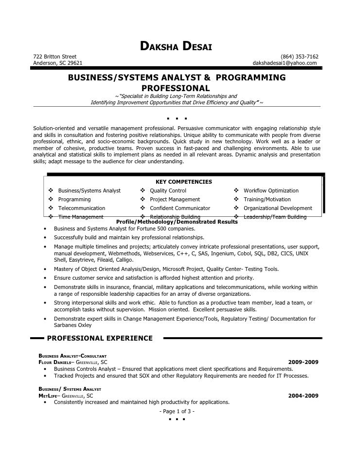 sample of cv business analyst