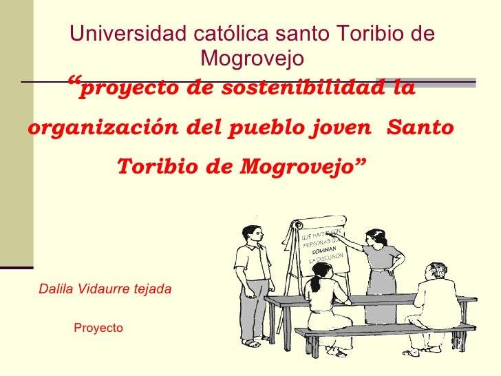 """"""" proyecto de sostenibilidad la organización del pueblo joven  Santo Toribio de Mogrovejo"""" Dalila Vidaurre tejada Proyecto..."""
