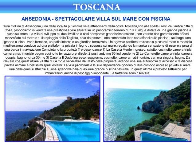 TOSCANA             ANSEDONIA - SPETTACOLARE VILLA SUL MARE CON PISCINASulla Collina di Ansedonia, una delle località più ...
