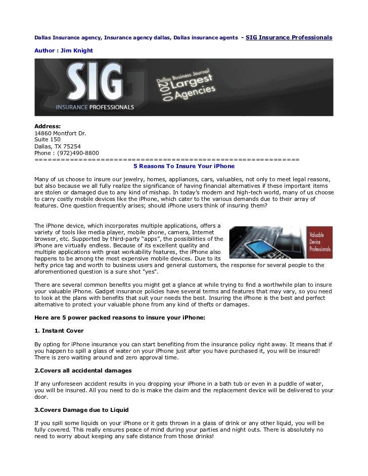 Dallas Insurance agency, Insurance agency dallas, Dallas insurance agents - SIG Insurance ProfessionalsAuthor : Jim Knight...