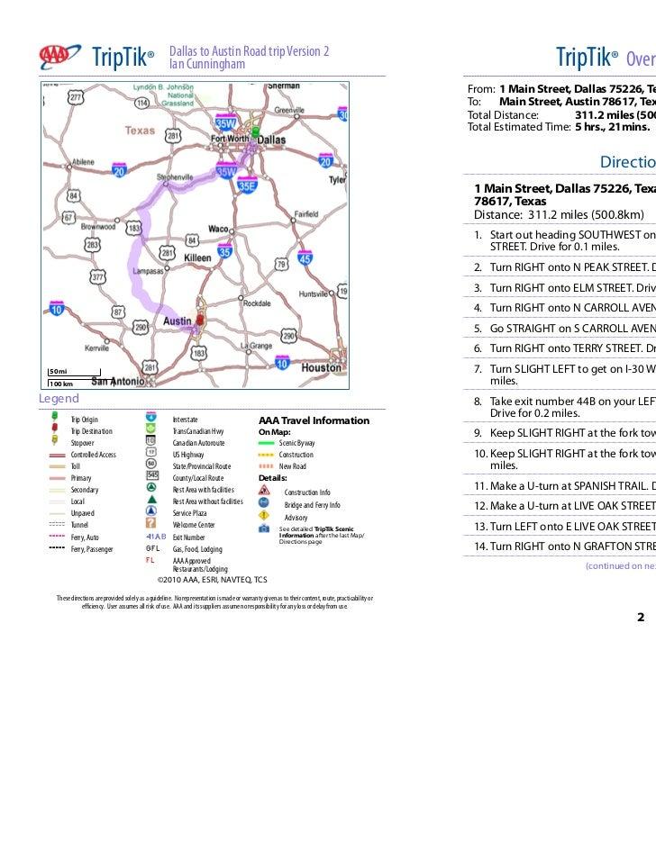 TripTik®                           Dallas to Austin Road trip Version 2                                                   ...