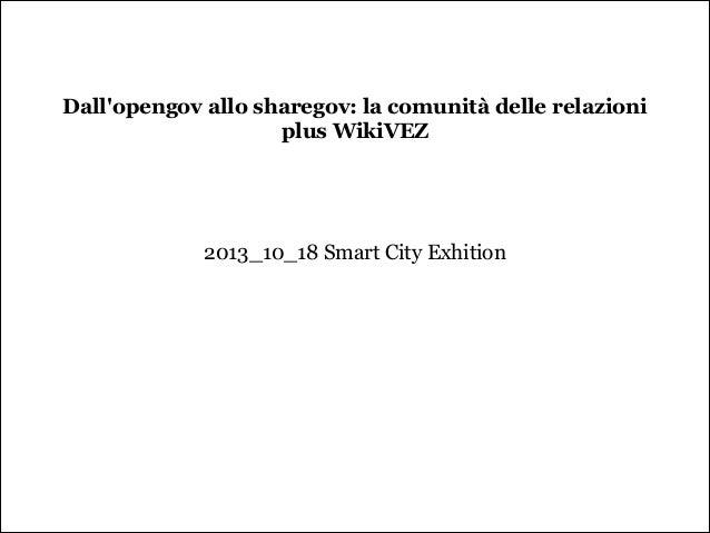 Dall'opengov allo sharegov: la comunità delle relazioni plus WikiVEZ      2013_10_18 Smart City Exhition