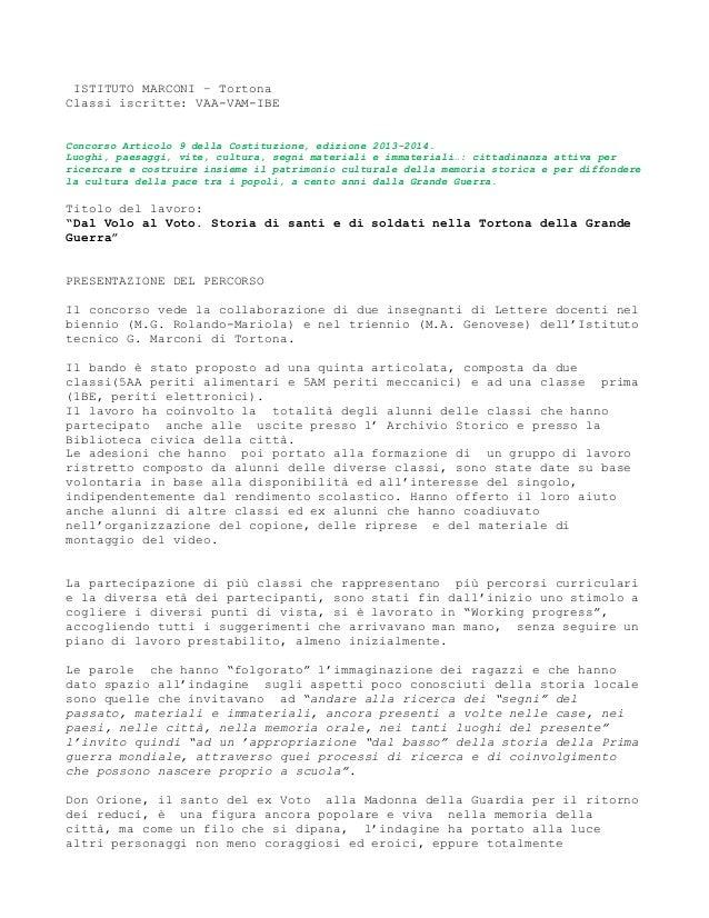 ISTITUTO MARCONI – Tortona Classi iscritte: VAA-VAM-IBE Concorso Articolo 9 della Costituzione, edizione 2013-2014. Luoghi...
