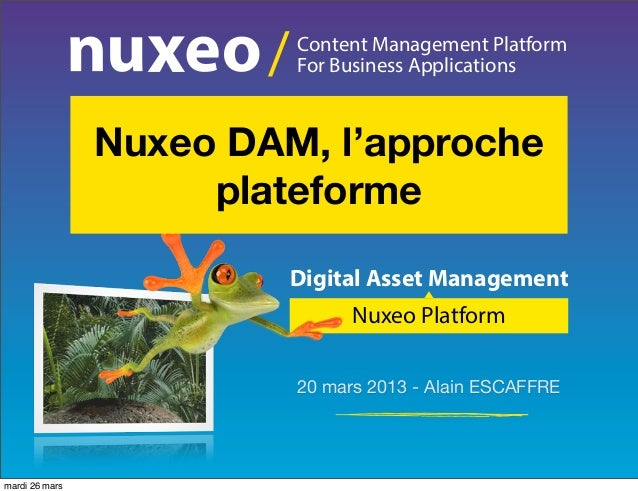 /   Content Management Platform                            For Business Applications                Nuxeo DAM, l'approche ...