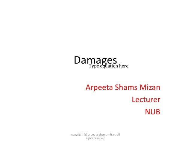 Damages Arpeeta Shams Mizan Lecturer NUB copyright (c) arpeeta shams mizan. all rights reserved