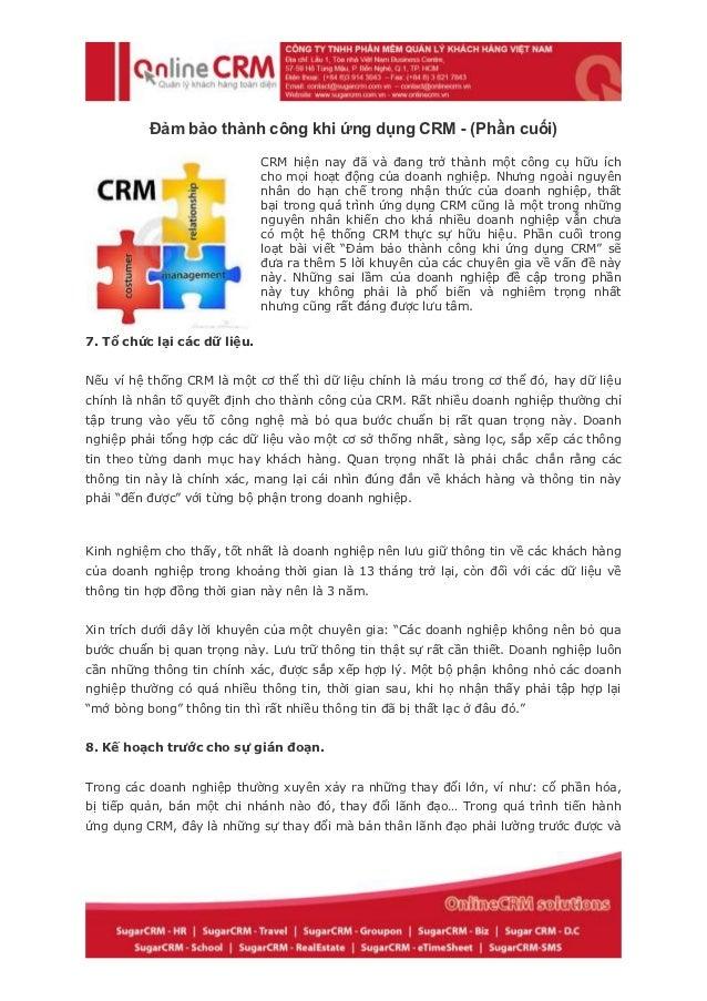 Đảm bảo thành công khi ứng dụng CRM - (Phần cuối)                              CRM hiện nay đã và đang trở thành một công ...