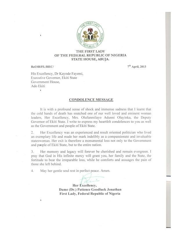 Dame Jonathan's condolence letter