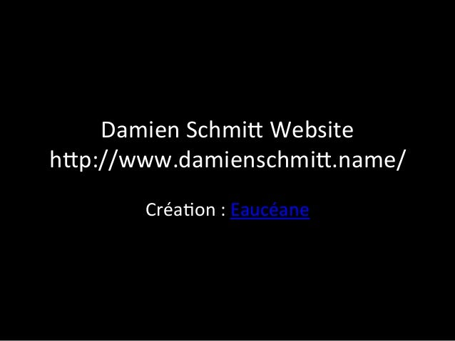 Damien	   Schmi+	   Website	    h+p://www.damienschmi+.name/	    Créa9on	   :	   Eaucéane