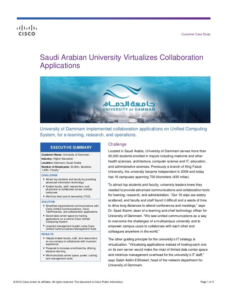 Customer Case Study                        Saudi Arabian University Virtualizes Collaboration                        Appli...