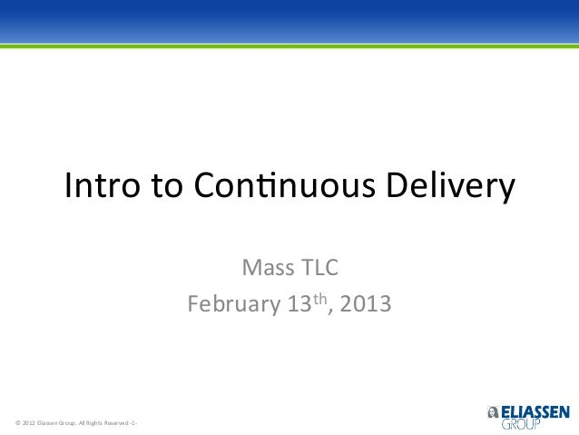 Damon poole, Intro to Continuous Delivery