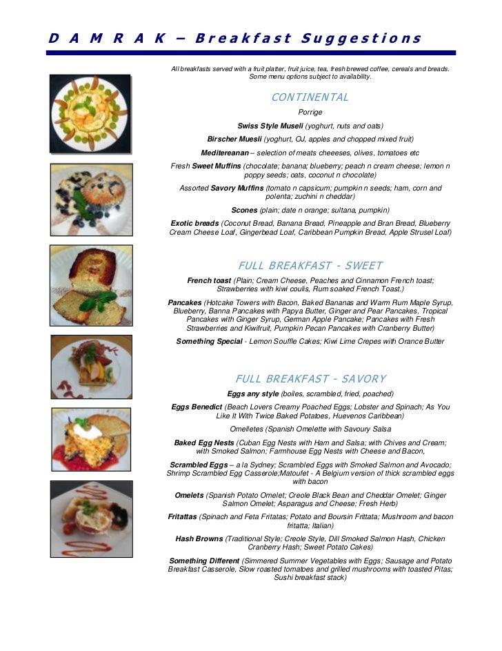 Damrak ii sample menu