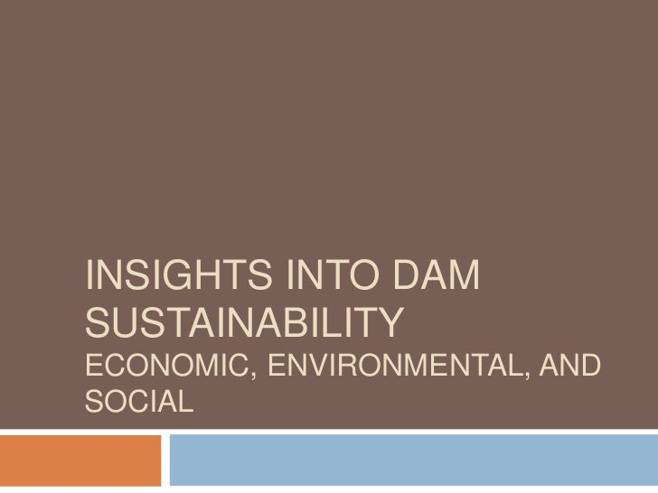INSIGHTS INTO DAMSUSTAINABILITYECONOMIC, ENVIRONMENTAL, ANDSOCIAL
