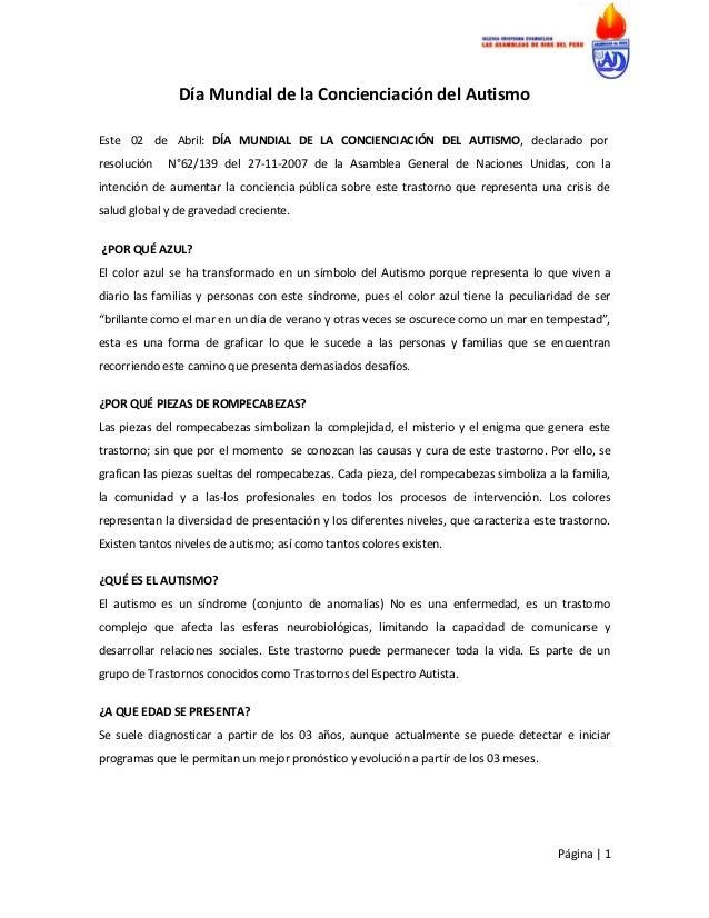 Día Mundial de la Concienciación del AutismoEste 02 de Abril: DÍA MUNDIAL DE LA CONCIENCIACIÓN DEL AUTISMO, declarado porr...