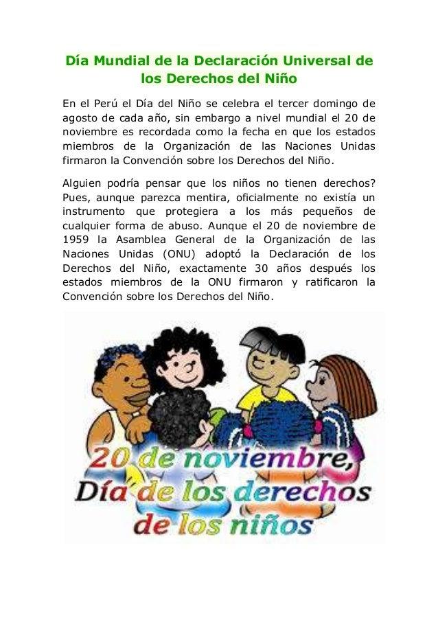 Día mundial de la declaración universal de los derechos del niño