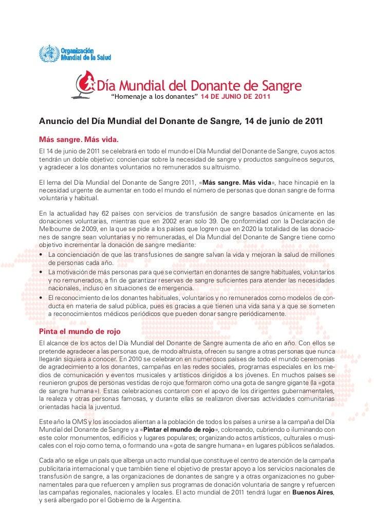 """Día Mundial del Donante de Sangre                         """"Homenaje a los donantes"""" 14 DE JUNIO DE 2011Anuncio del Día Mun..."""
